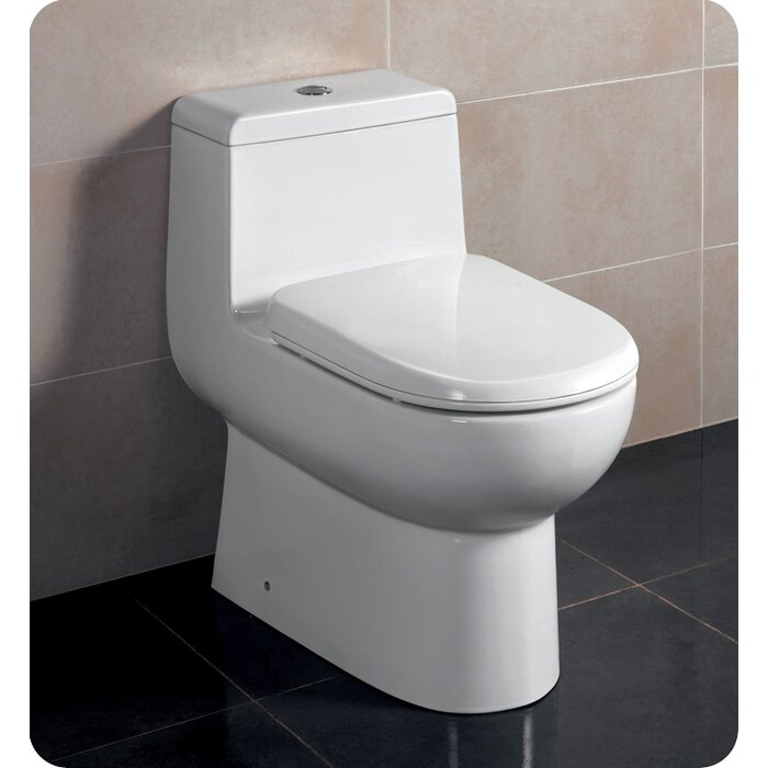 a picture of a one piece dual flush toilet
