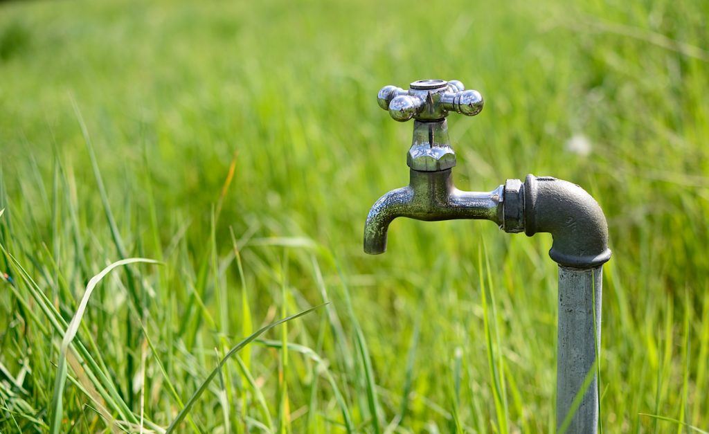 picture of an outdoor faucet in a sunny field