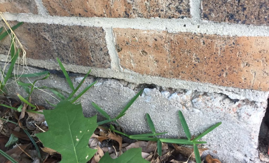 foundational crack caused by water leak