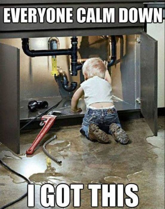 child fixing a sink. clever plumbing quotes